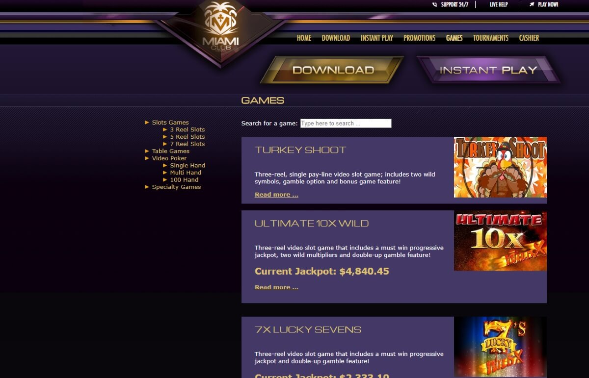Play Miami Club Casino Games